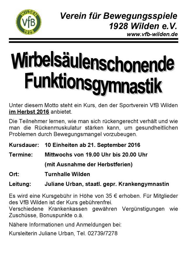 2016-09-03_Wilden_Wirbelsäulengymnastik beim VfB Wilden_Plakat_Verein